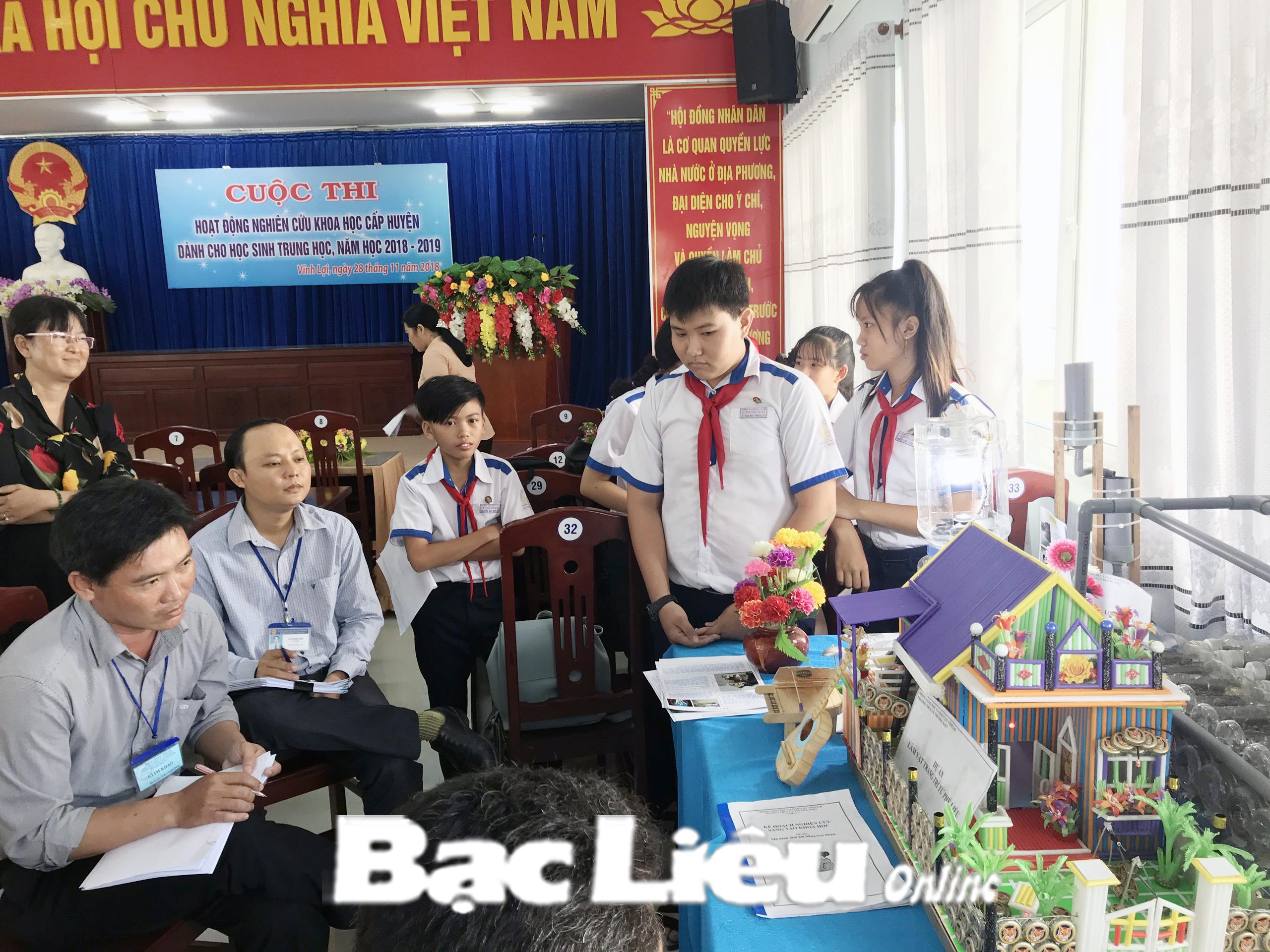Huyện Vĩnh Lợi đoạt giải Nhất toàn đoàn hội thi nghiên cứu khoa học cấp tỉnh năm học 2018 - 2019