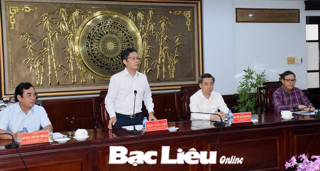 Bộ trưởng Bộ Công thương - Trần Tuấn Anh thăm và làm việc với tỉnh Bạc Liêu