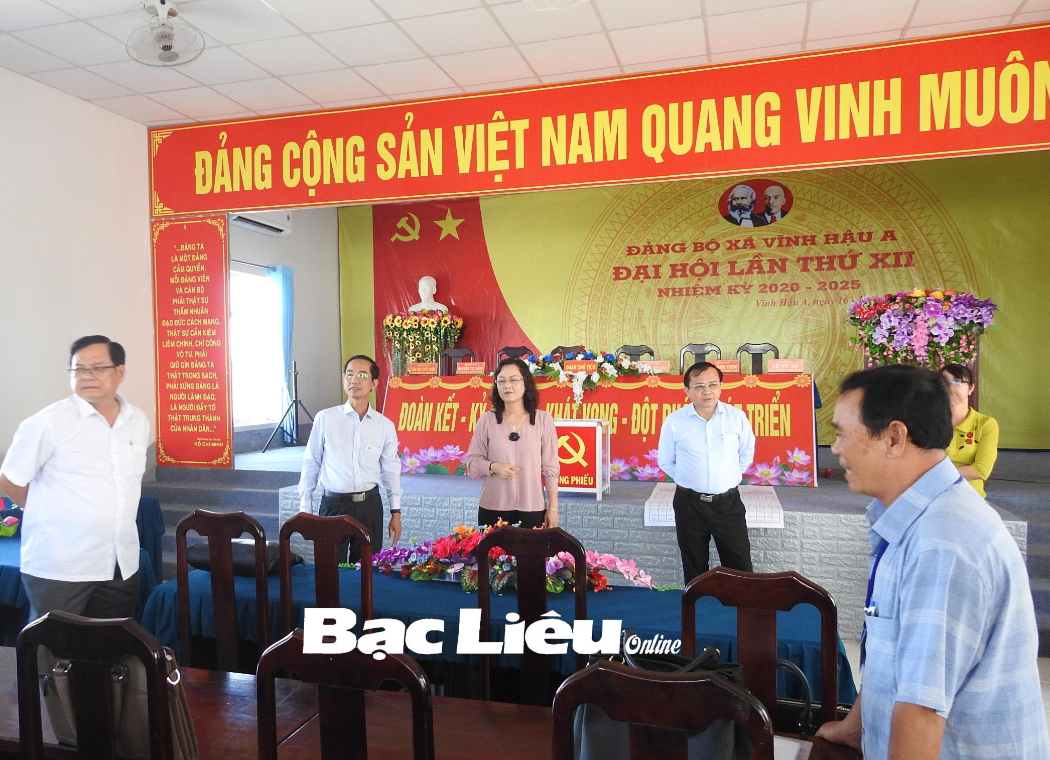 Phó Bí thư Thường trực Tỉnh ủy - Lê Thị Ái Nam kiểm tra công tác chuẩn bị tổ chức Đại hội Đảng bộ xã Vĩnh Hậu A nhiệm kỳ 2020 - 2025