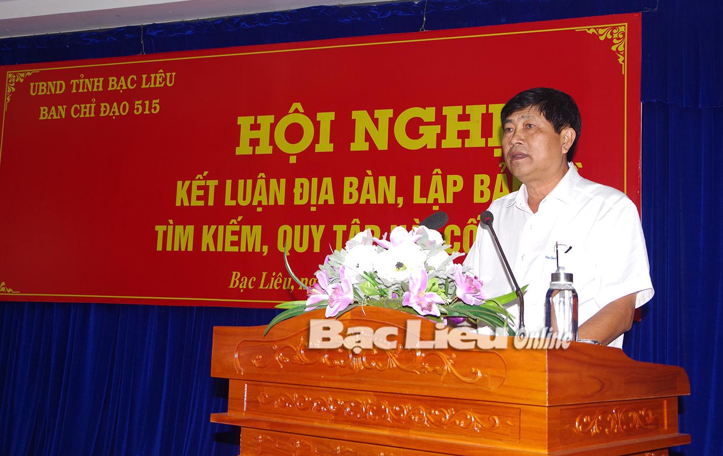 Ban Chỉ đạo 515 tỉnh Bạc Liêu tổ chức Hội nghị Kết luận địa bàn lập bản đồ tìm kiếm, quy tập hài cốt liệt sĩ