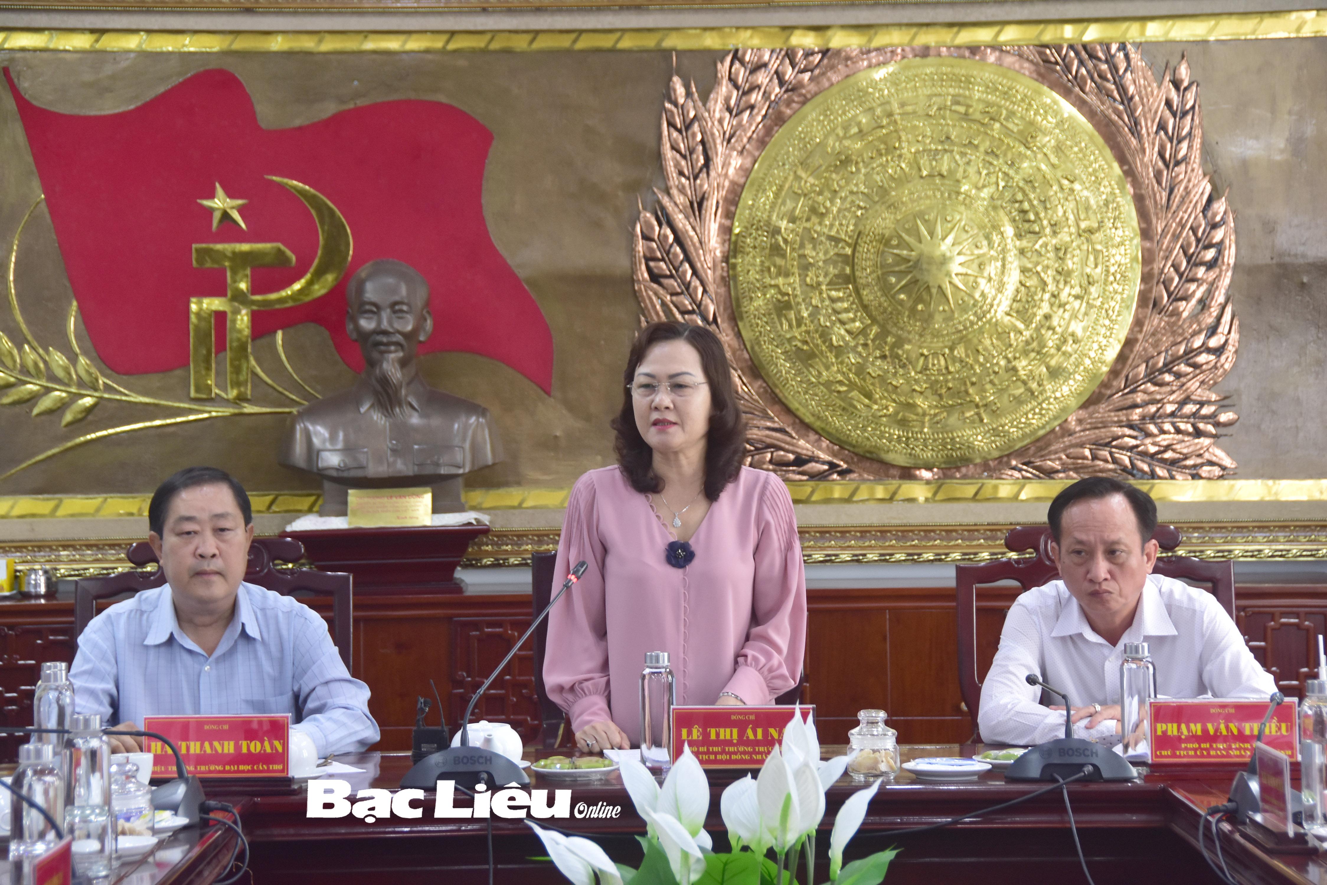 Phó Bí thư Thường trực Tỉnh ủy - Lê Thị Ái Nam: Tỉnh Bạc Liêu và Đại học Cần Thơ sẽ ký kết hợp tác trong thời gian tới