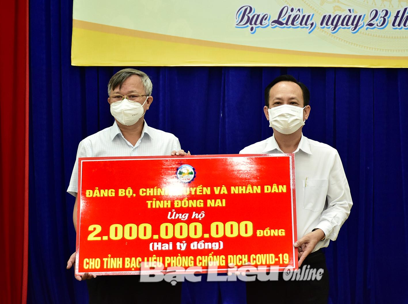 Đồng Nai hỗ trợ Bạc Liêu 2 tỷ đồng để phòng, chống dịch COVID-19